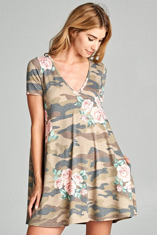 The Floral Camo Swing Dress