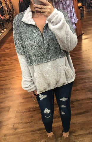 The Gray Rainy Day Sherpa Pullover