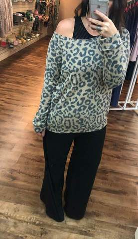 The Brushed Leopard Slouch Top-Plus