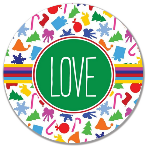 Colorful Christmas Word Plate-Love