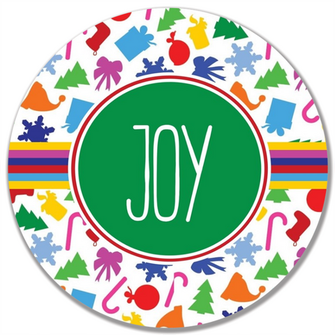 Colorful Christmas Word Plate-Joy