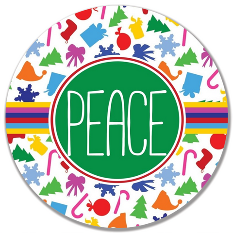 Colorful Christmas Word Plate-Peace
