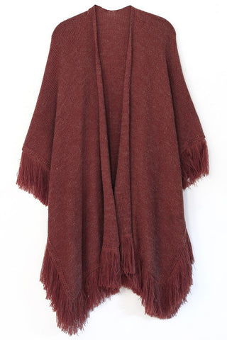 Burgundy Fringe Fall Ruana