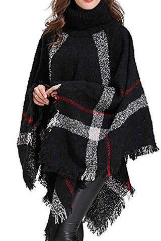 Plaid Poncho- 6 colors