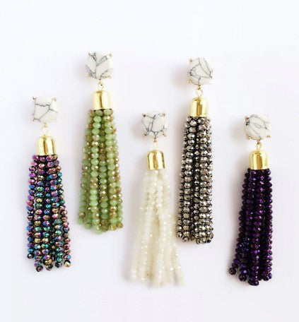 Beaded Tassel Earrings -9 colors