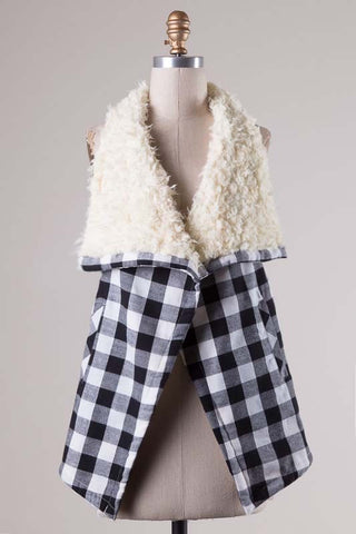The Gingham Sherpa Vest
