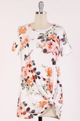 Ivory Floral Knot Top