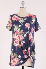 Navy Floral Knot Top