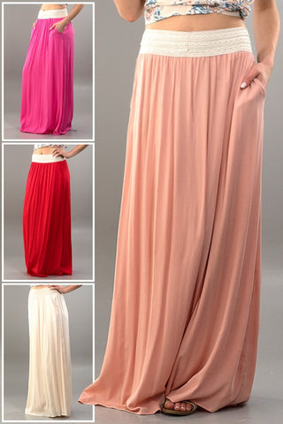 Gathered Maxi Skirt-4 Colors