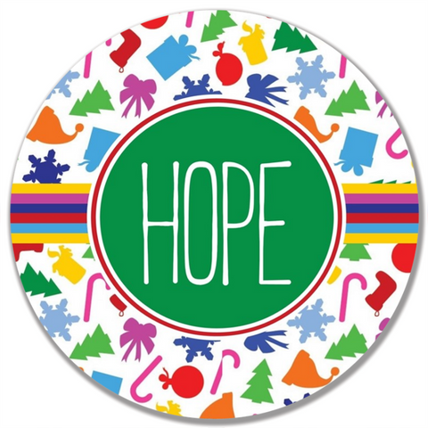 Colorful Christmas Word Plate-Hope