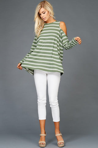 The Olive Stripe Cold Shoulder Top