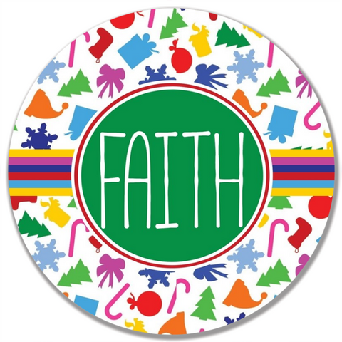 Colorful Christmas Word Plate-Faith