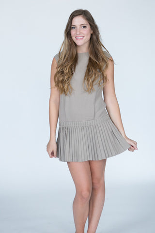 Pleated Mocha Dress