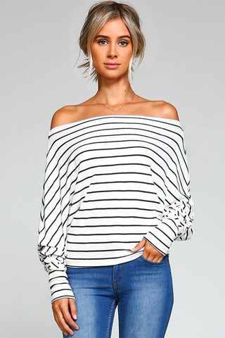 Stella Stripe Top in Ivory