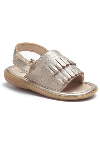 Mini Gold Moccasin Sandals