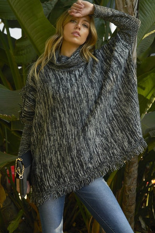 The Fringed Heather Sweater