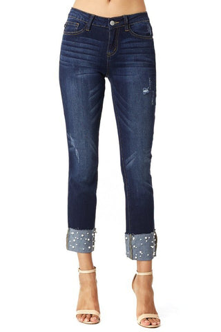 The Cuffed Pearl Jeans-PLUS