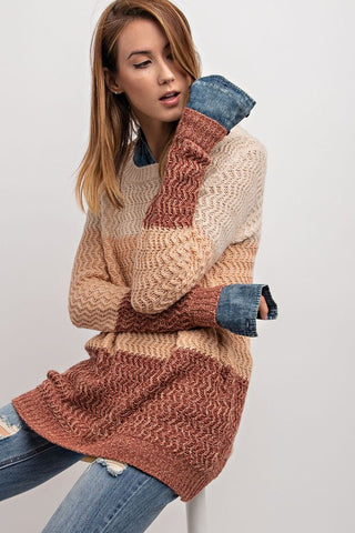 The Denim and Knit Sweater
