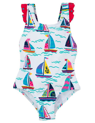 Sailboats Ruffle Swimsuit