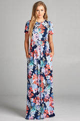 The Short Sleeve Floral Lindy Maxi