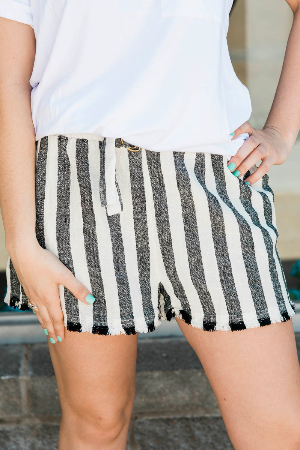 The Frayed Stripe Shorts- 2 colors