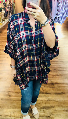 The Wide Winged Tunic-Navy Plaid