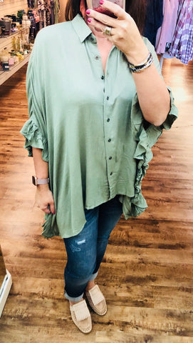 Wide Winged Tunic in Olive