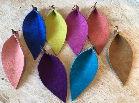 Large Pinched Suede Earrings