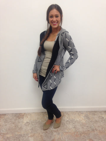 Aztec Pin Hooded Cardigan