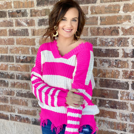 -The Fuschia Stripe Sweater