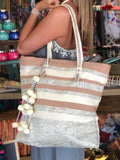 Peach Bloom Glitter Tote
