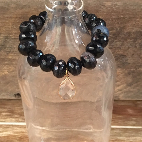 Black & Clear Drop Bracelet