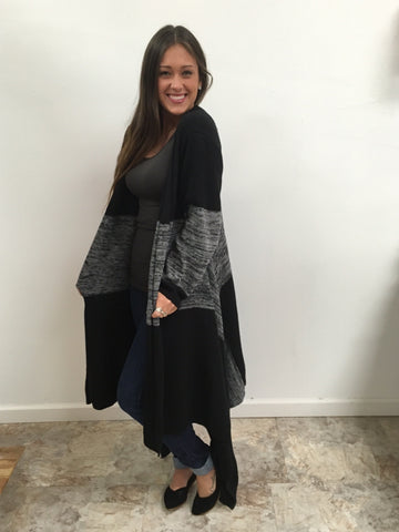 Long Black Grey Cardigan