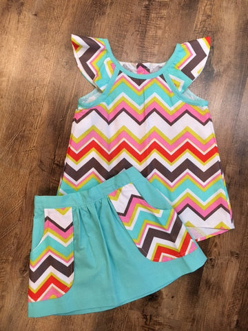 Bethany Aqua Chevron Set
