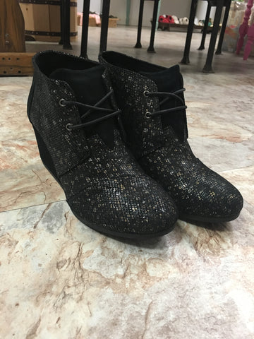 Black Leather Print Boot