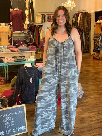 The Camo in the Clouds Jumpsuit-Curvy