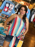 Colorful Striped Tie Tank 2 Colors