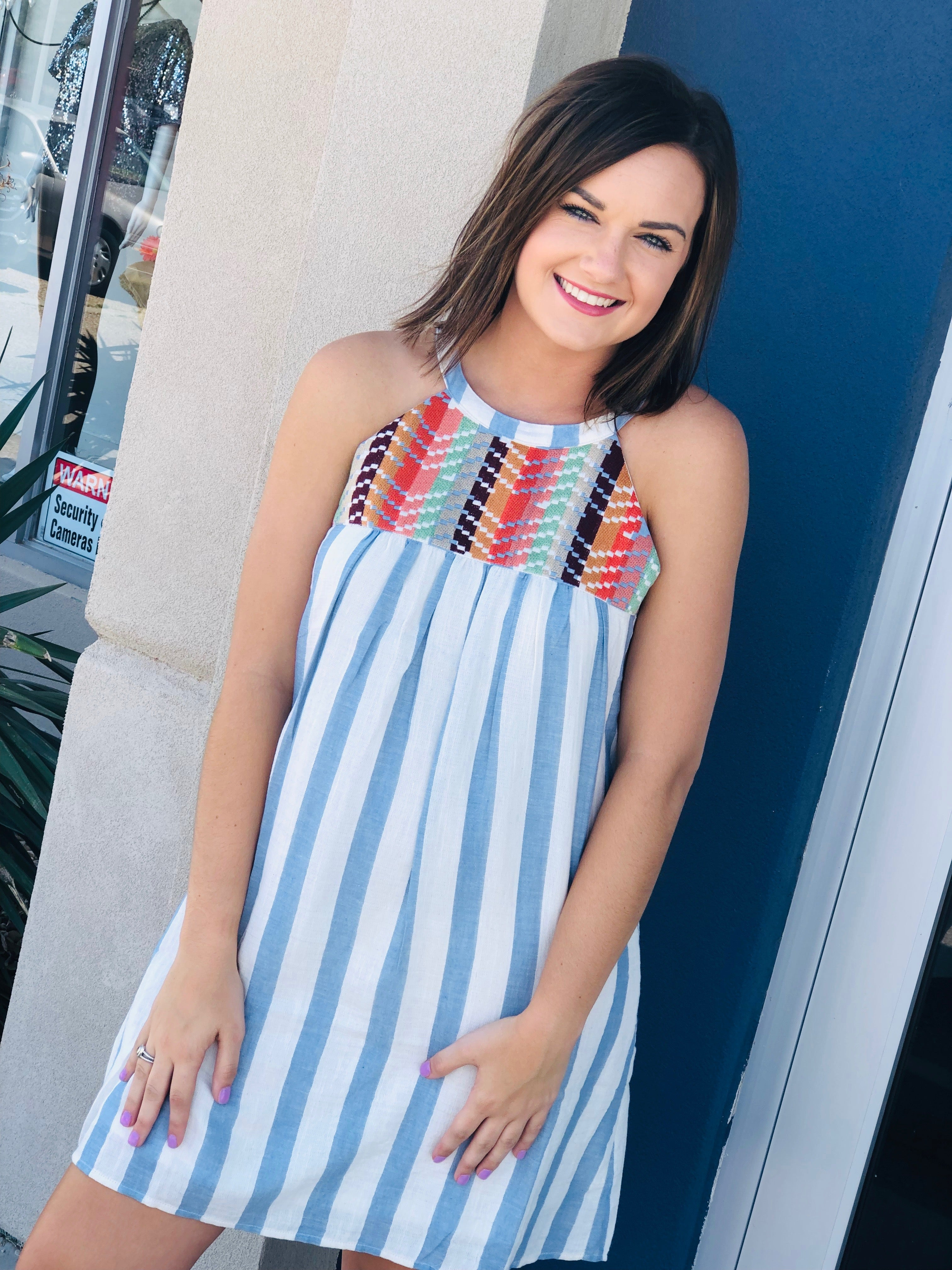 The Halter Striped Dress in Blue