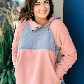 The Quilted Blush Pullover