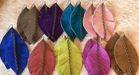 Suede Feathers with Chain Earrings