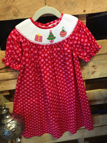 Red Smocked Holiday Dress