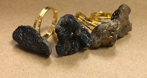 Druzy Rock Rings-2 Colors