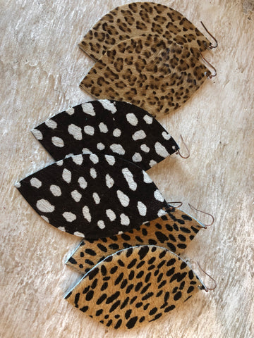 The Animal Print Leather Earrings