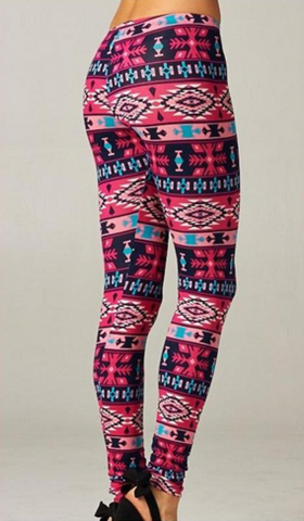 Cherish Soft Top Leggings in Pink Aztec