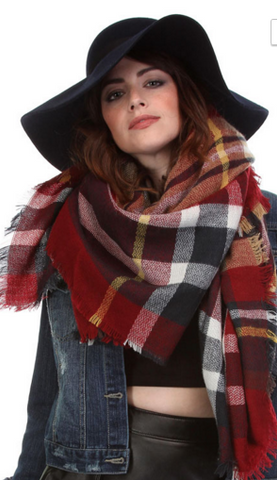 Oversized Blanket Scarf in Red