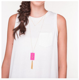 Rectangle Charm Tassel Necklace