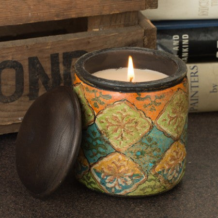 Antiqued Printed Terracotta Candles