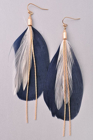 Chain and Feather Earrings-2 Colors