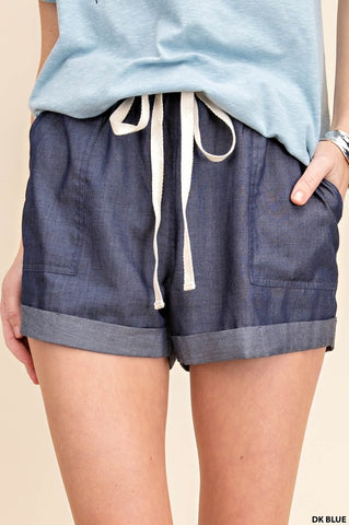 Cuffed Chambray Shorts