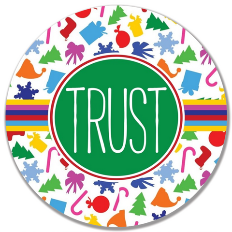 Colorful Christmas Word Plate-Trust